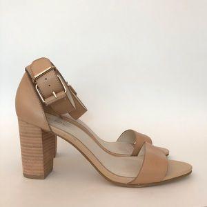 Leather Block Heel Sandals -Worn once!